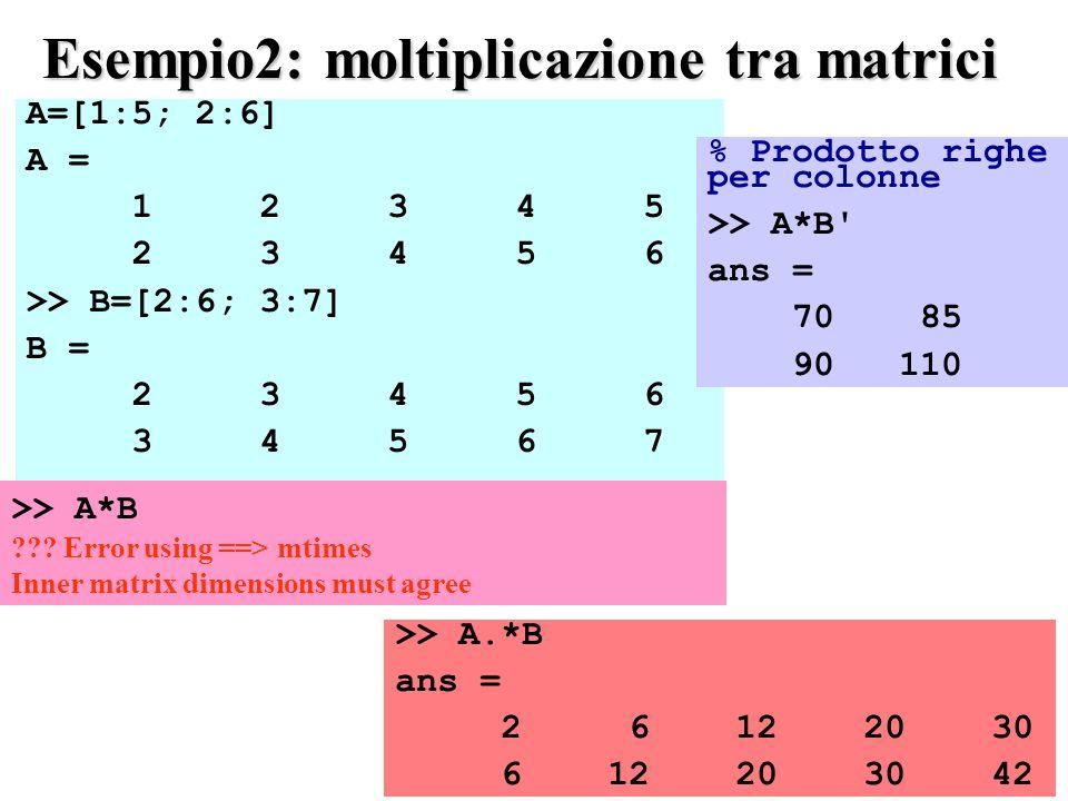 Esempio2: moltiplicazione tra matrici
