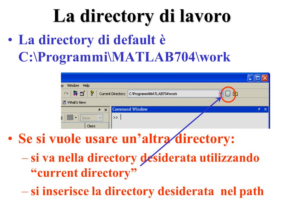 La directory di lavoro La directory di default è C:\Programmi\MATLAB704\work. Se si vuole usare un'altra directory:
