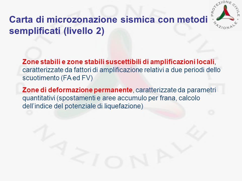 Carta di microzonazione sismica con metodi semplificati (livello 2)