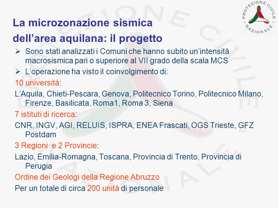 La microzonazione sismica dell'area aquilana: il progetto