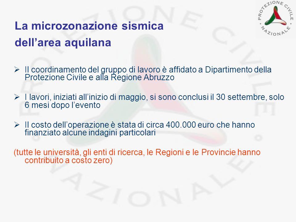 La microzonazione sismica dell'area aquilana