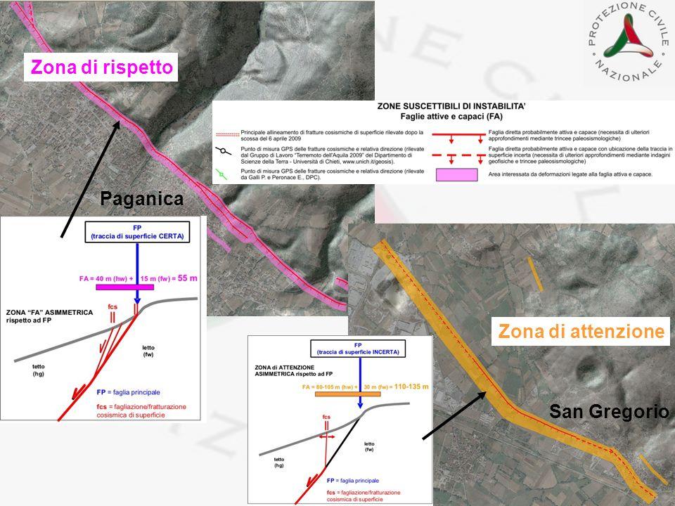 Zona di rispetto Paganica Zona di attenzione San Gregorio