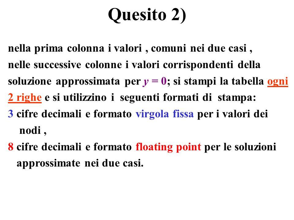 Quesito 2) nella prima colonna i valori , comuni nei due casi ,