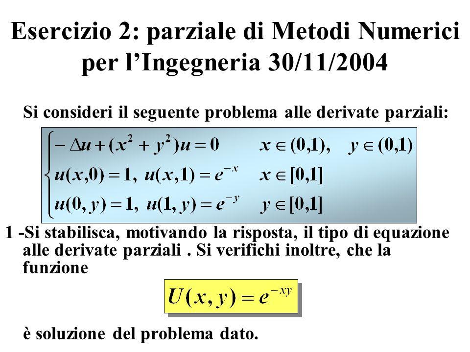 Esercizio 2: parziale di Metodi Numerici per l'Ingegneria 30/11/2004