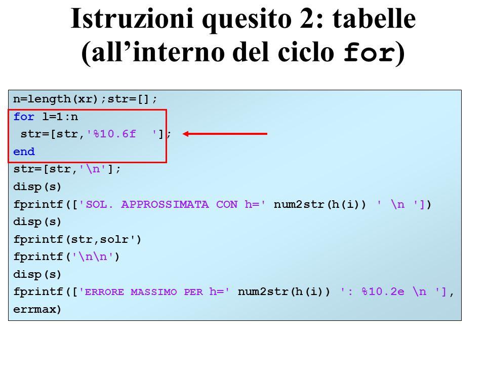 Istruzioni quesito 2: tabelle (all'interno del ciclo for)