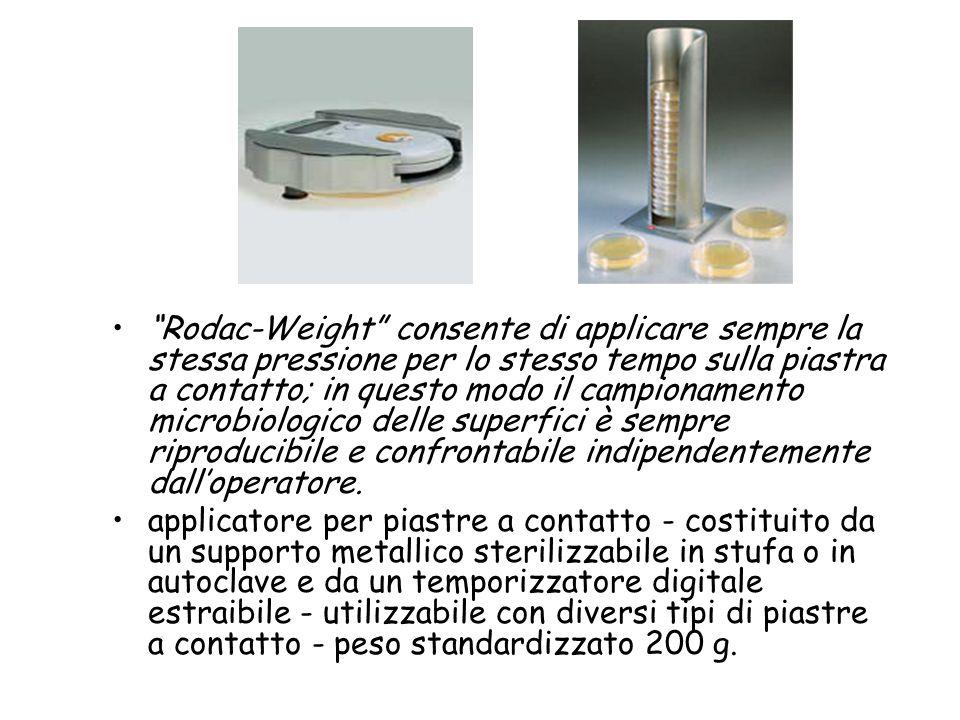 Rodac-Weight consente di applicare sempre la stessa pressione per lo stesso tempo sulla piastra a contatto; in questo modo il campionamento microbiologico delle superfici è sempre riproducibile e confrontabile indipendentemente dall'operatore.