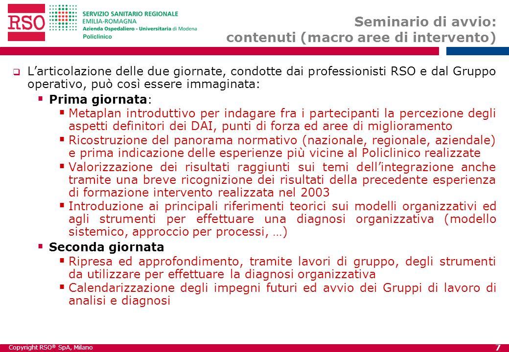 Seminario di avvio: contenuti (macro aree di intervento)