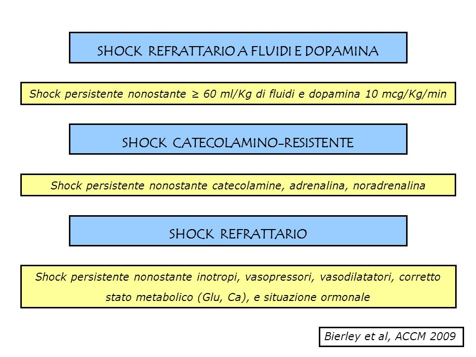 SHOCK REFRATTARIO A FLUIDI E DOPAMINA SHOCK CATECOLAMINO-RESISTENTE