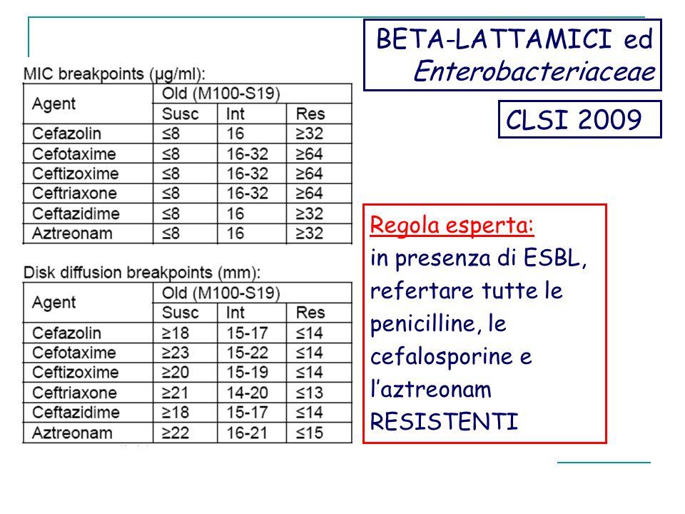 BETA-LATTAMICI ed Enterobacteriaceae CLSI 2009 Regola esperta: