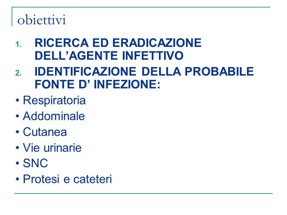 obiettivi RICERCA ED ERADICAZIONE DELL'AGENTE INFETTIVO