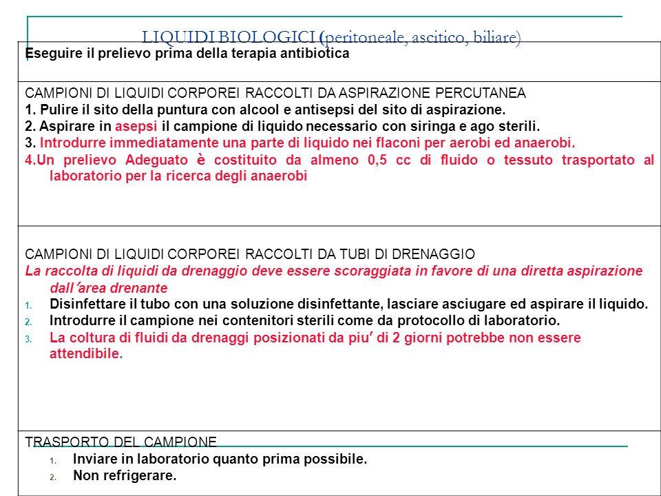LIQUIDI BIOLOGICI (peritoneale, ascitico, biliare)