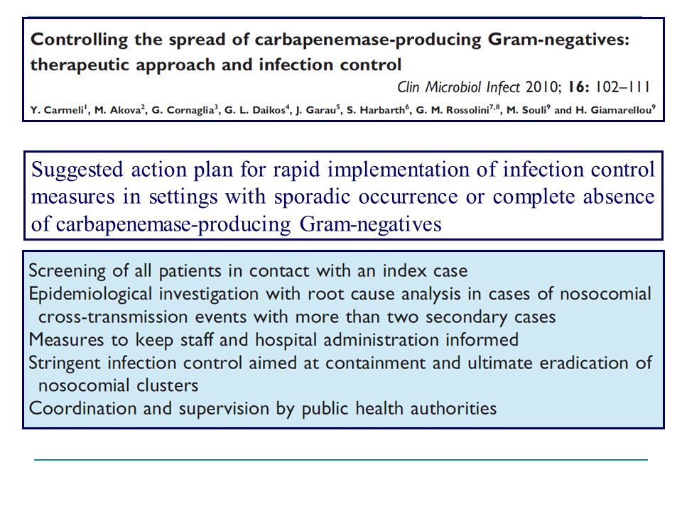Suggested action plan for rapid implementation of infection control measures in settings with sporadic occurrence or complete absence of carbapenemase-producing Gram-negatives