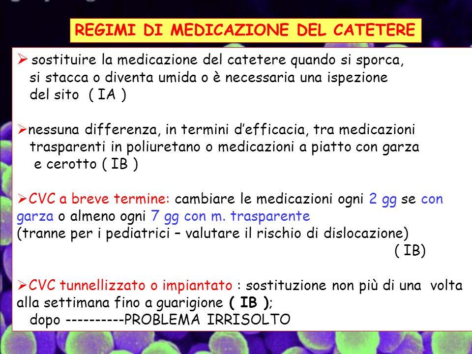 REGIMI DI MEDICAZIONE DEL CATETERE