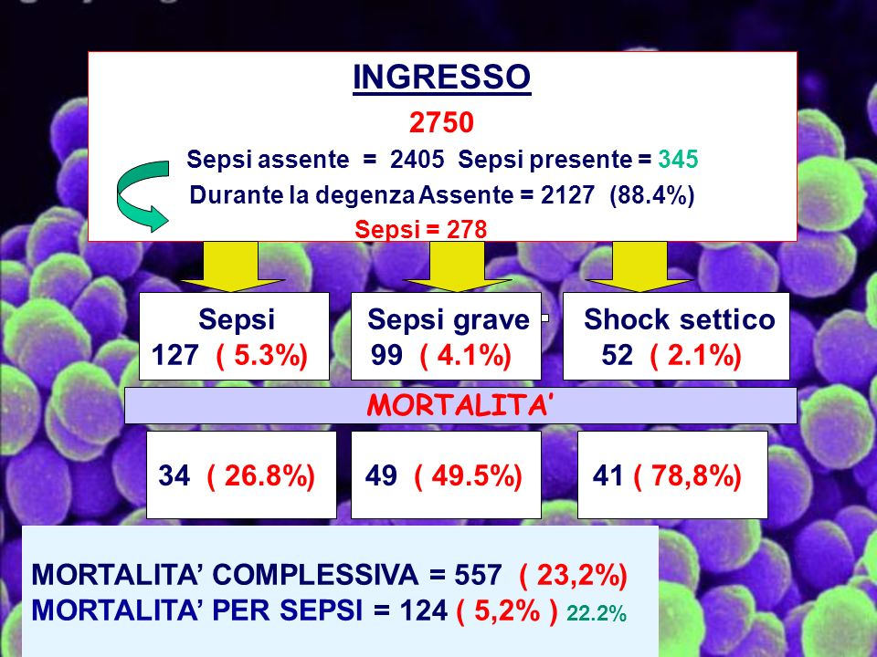 INGRESSO 2750 127 ( 5.3%) 99 ( 4.1%) 52 ( 2.1%) MORTALITA' 34 ( 26.8%)