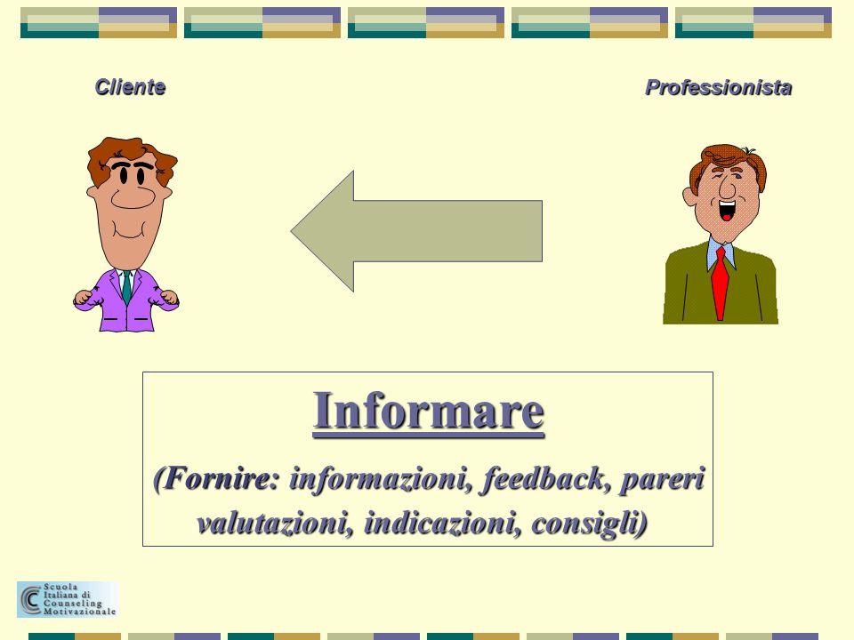 Informare (Fornire: informazioni, feedback, pareri
