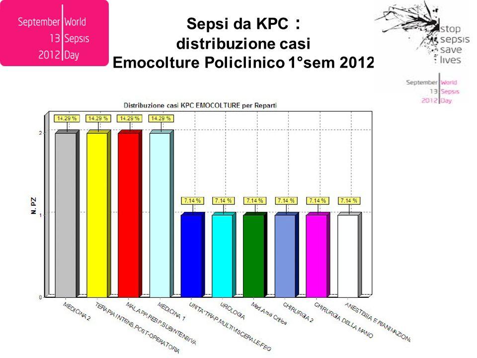Sepsi da KPC : distribuzione casi Emocolture Policlinico 1°sem 2012
