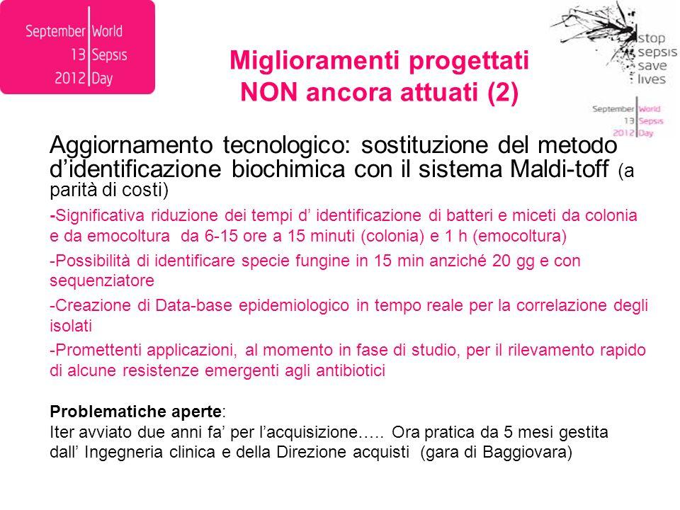 Miglioramenti progettati NON ancora attuati (2)