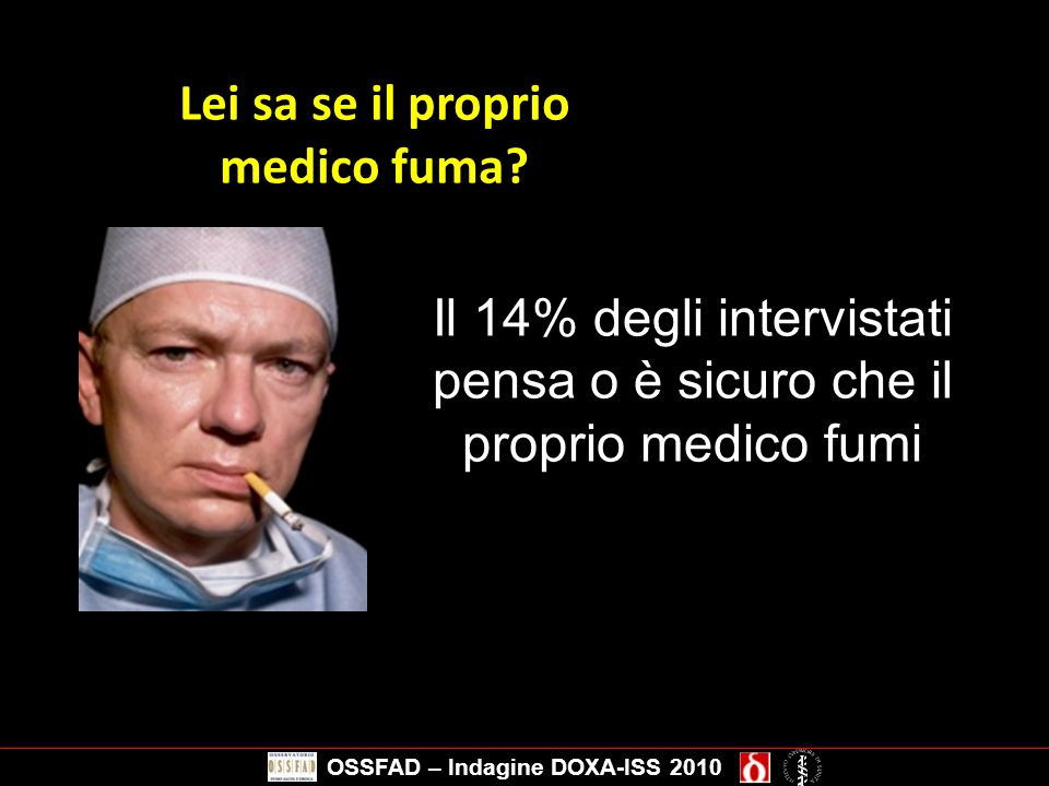 Lei sa se il proprio medico fuma OSSFAD – Indagine DOXA-ISS 2010