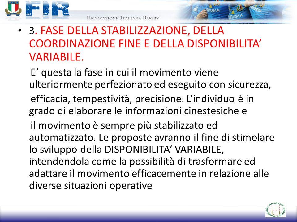3. FASE DELLA STABILIZZAZIONE, DELLA COORDINAZIONE FINE E DELLA DISPONIBILITA' VARIABILE.