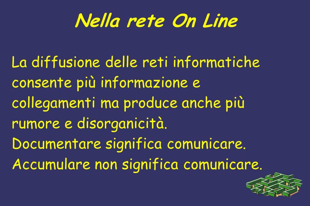 Nella rete On Line La diffusione delle reti informatiche