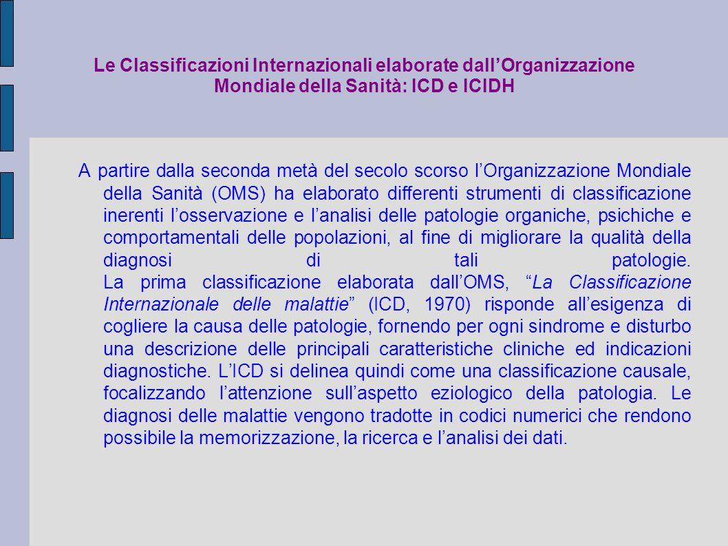 Le Classificazioni Internazionali elaborate dall'Organizzazione Mondiale della Sanità: ICD e ICIDH
