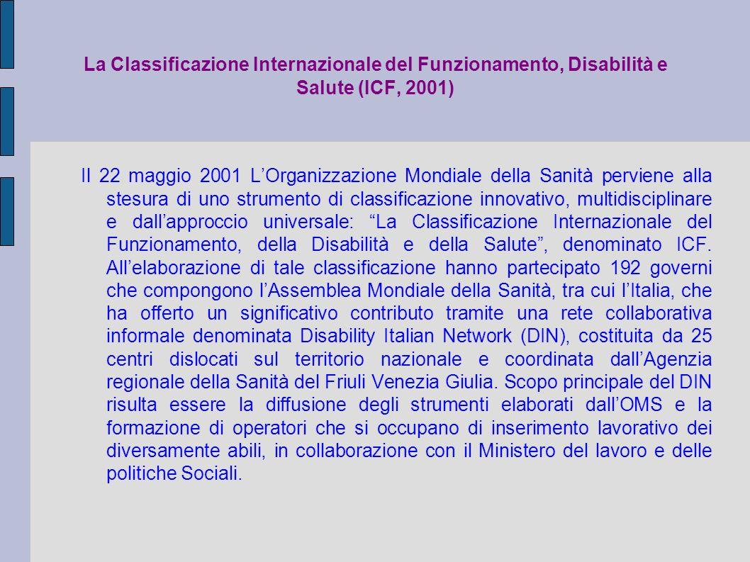La Classificazione Internazionale del Funzionamento, Disabilità e Salute (ICF, 2001)