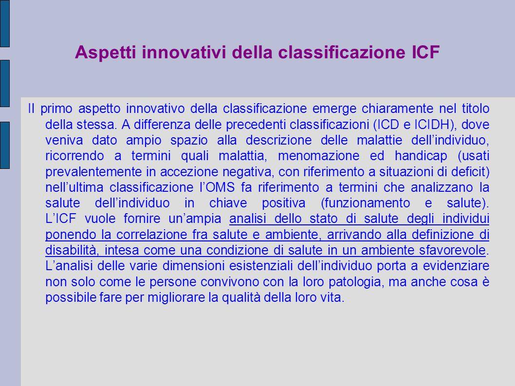 Aspetti innovativi della classificazione ICF