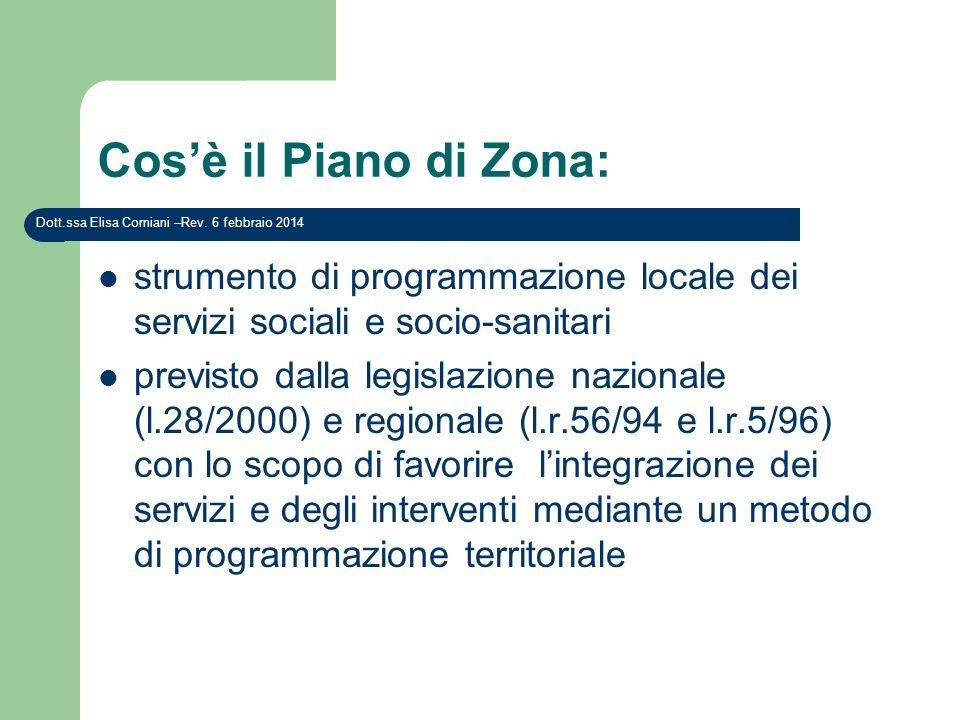 Cos'è il Piano di Zona: Dott.ssa Elisa Corniani –Rev. 27 marzo 2017. strumento di programmazione locale dei servizi sociali e socio-sanitari.