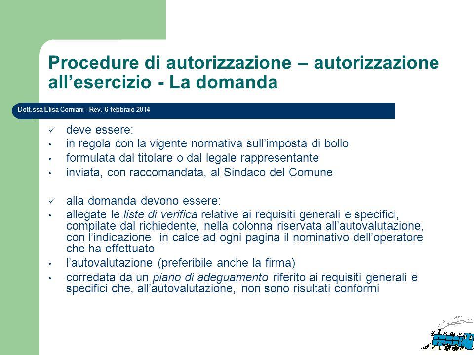 Procedure di autorizzazione – autorizzazione all'esercizio - La domanda