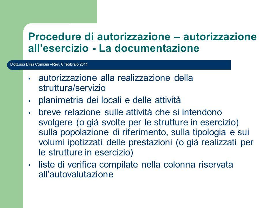 Procedure di autorizzazione – autorizzazione all'esercizio - La documentazione