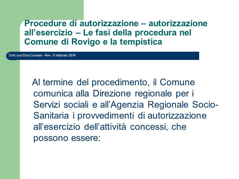Procedure di autorizzazione – autorizzazione all'esercizio – Le fasi della procedura nel Comune di Rovigo e la tempistica