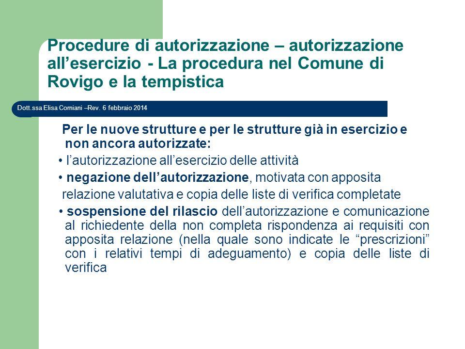 Procedure di autorizzazione – autorizzazione all'esercizio - La procedura nel Comune di Rovigo e la tempistica