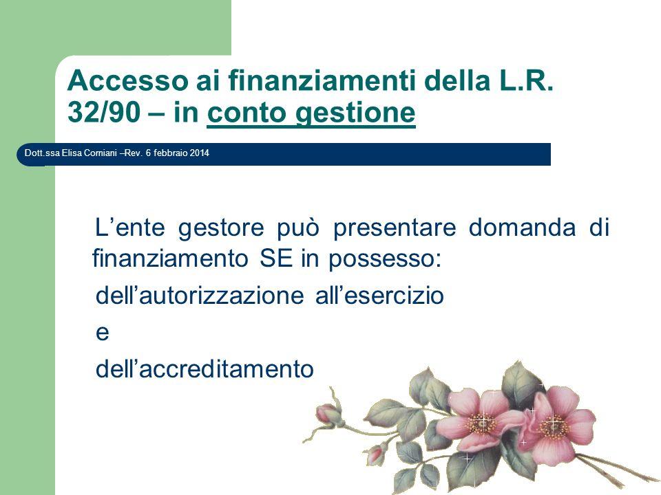 Accesso ai finanziamenti della L.R. 32/90 – in conto gestione