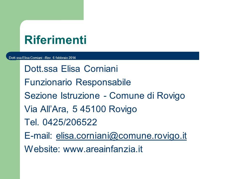Riferimenti Dott.ssa Elisa Corniani Funzionario Responsabile