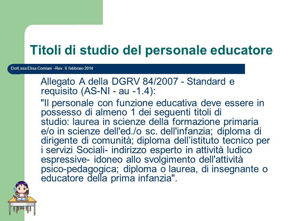 Titoli di studio del personale educatore