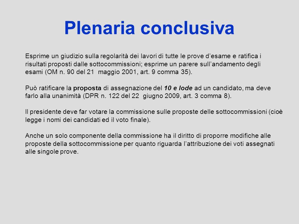 Plenaria conclusiva Esprime un giudizio sulla regolarità dei lavori di tutte le prove d'esame e ratifica i.