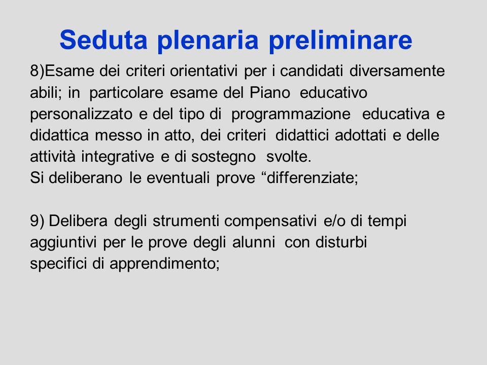 Seduta plenaria preliminare