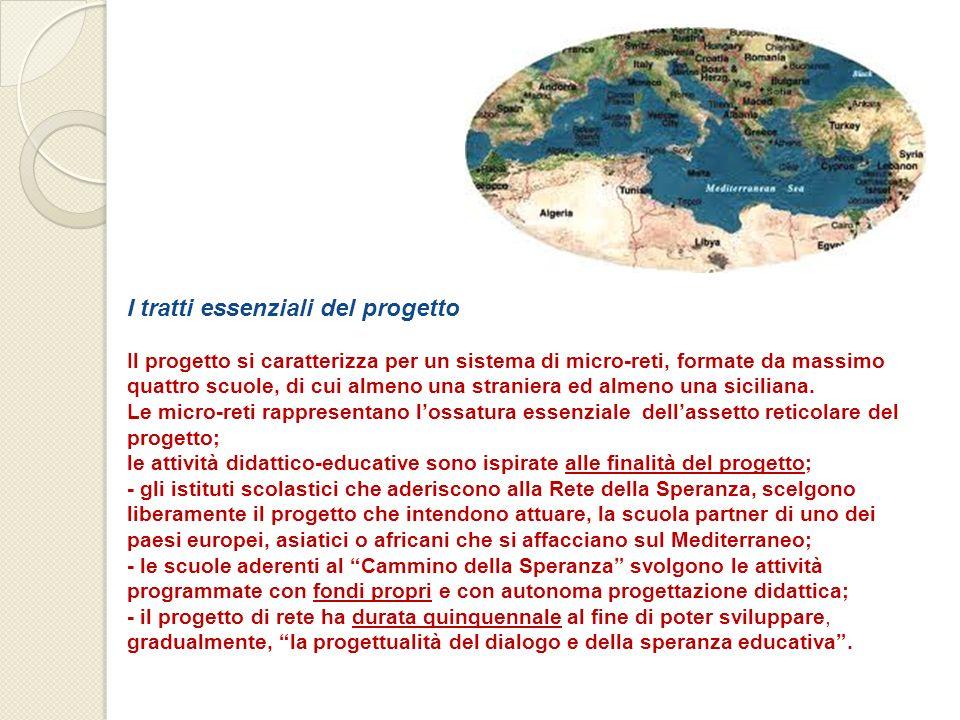 I tratti essenziali del progetto Il progetto si caratterizza per un sistema di micro-reti, formate da massimo quattro scuole, di cui almeno una straniera ed almeno una siciliana.