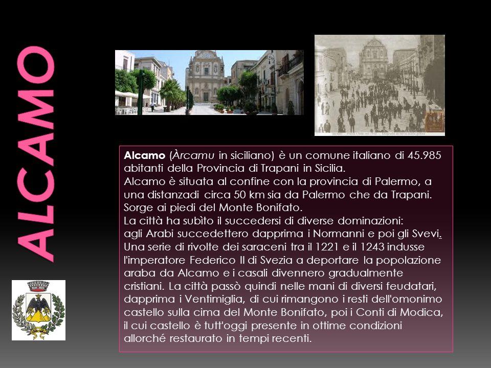 ALCAMOAlcamo (Àrcamu in siciliano) è un comune italiano di 45.985 abitanti della Provincia di Trapani in Sicilia.