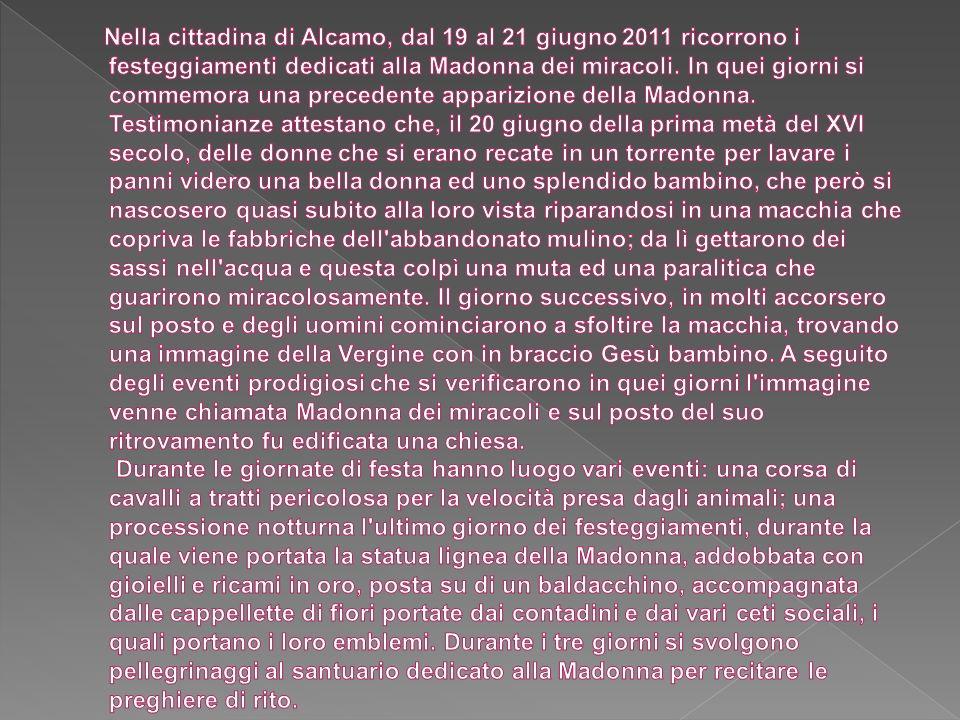 Nella cittadina di Alcamo, dal 19 al 21 giugno 2011 ricorrono i festeggiamenti dedicati alla Madonna dei miracoli.