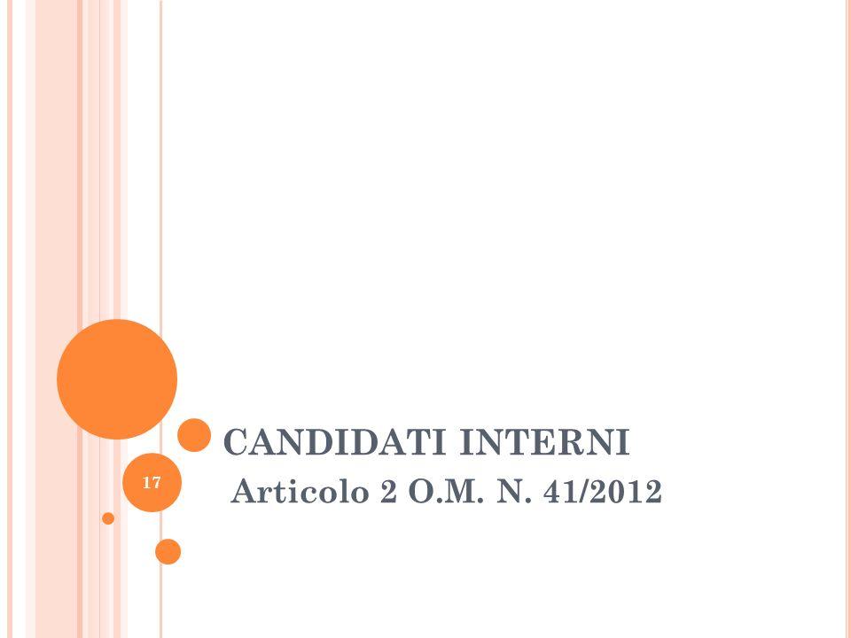CANDIDATI INTERNI Articolo 2 O.M. N. 41/2012