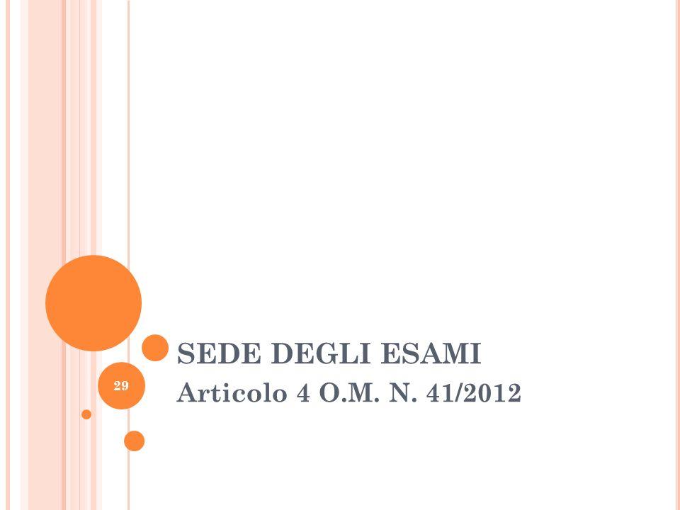 SEDE DEGLI ESAMI Articolo 4 O.M. N. 41/2012