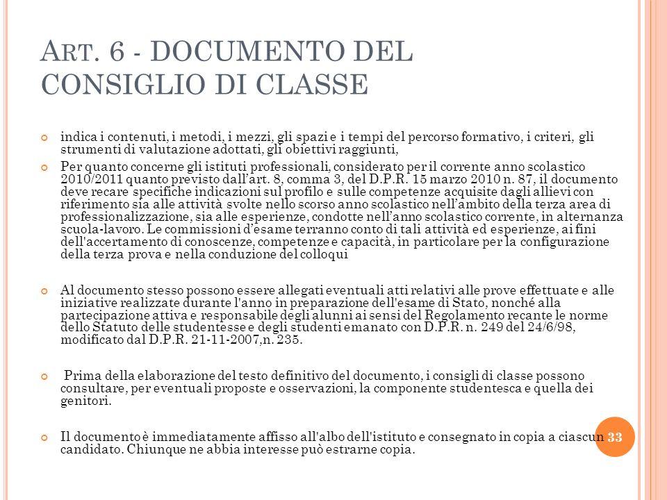 Art. 6 - DOCUMENTO DEL CONSIGLIO DI CLASSE