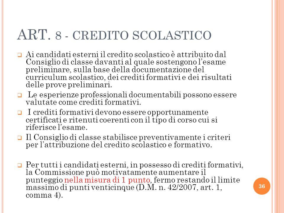 ART. 8 - CREDITO SCOLASTICO