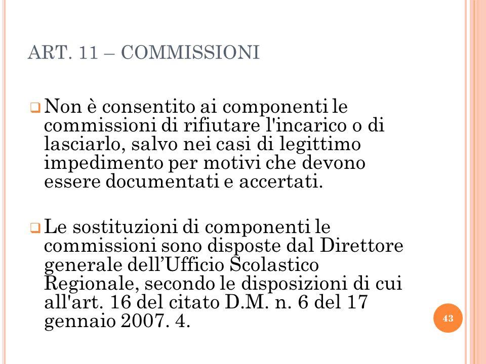 ART. 11 – COMMISSIONI