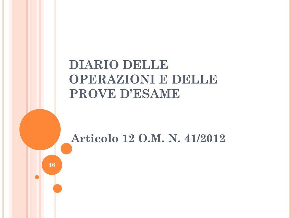 DIARIO DELLE OPERAZIONI E DELLE PROVE D'ESAME