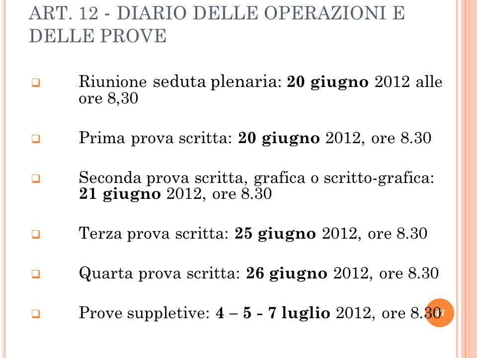 ART. 12 - DIARIO DELLE OPERAZIONI E DELLE PROVE