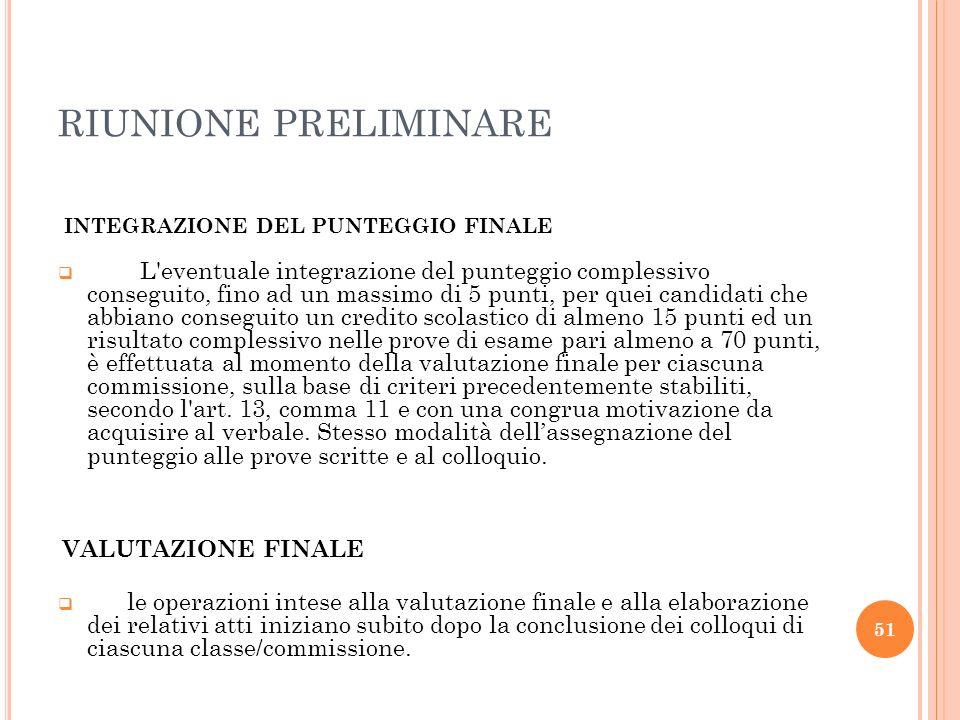 RIUNIONE PRELIMINAREINTEGRAZIONE DEL PUNTEGGIO FINALE.