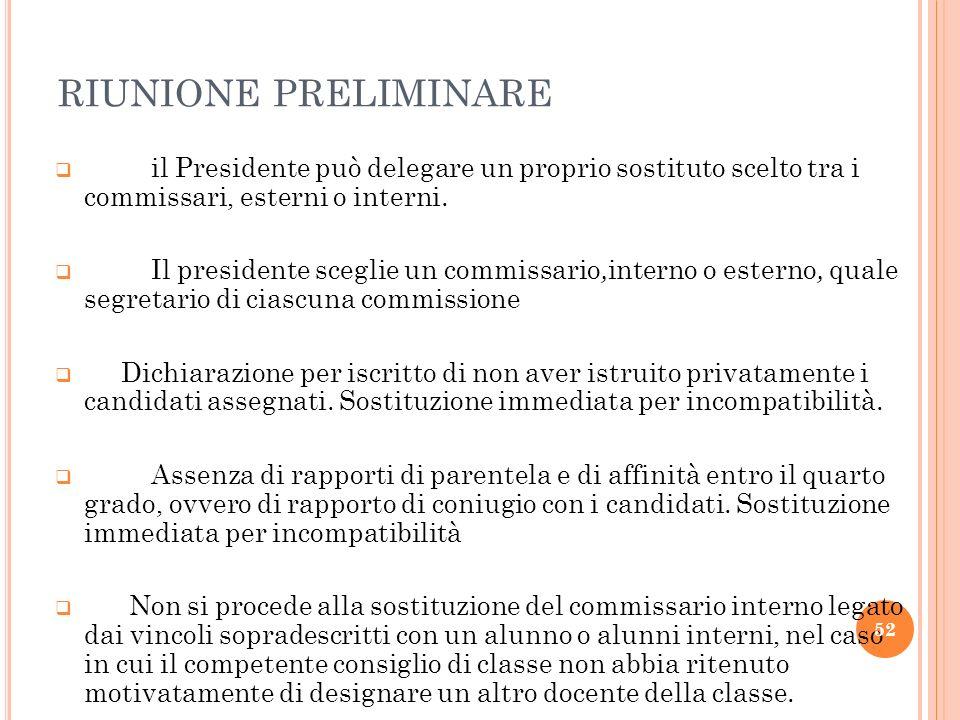 RIUNIONE PRELIMINARE il Presidente può delegare un proprio sostituto scelto tra i commissari, esterni o interni.