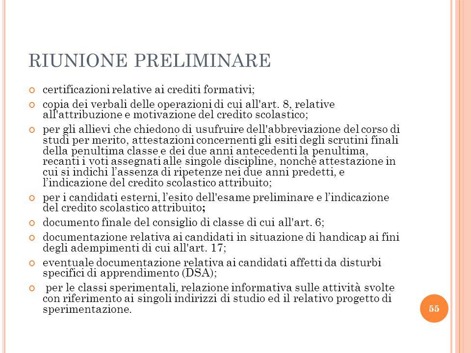 RIUNIONE PRELIMINARE certificazioni relative ai crediti formativi;